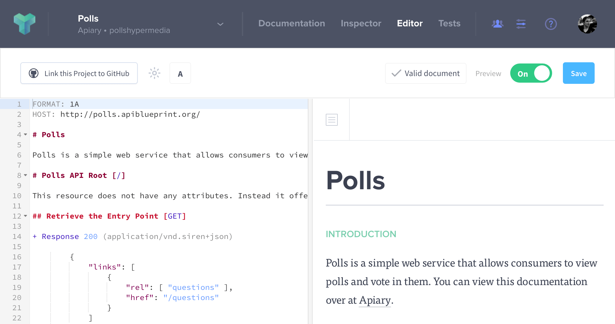 Apiary editor apiary help the apiary editor is the foundation of your api design apiary editor supports api blueprint and swagger api description languages malvernweather Choice Image