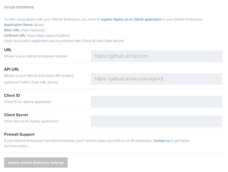 GitHub Enterprise (GHE) Integration | Apiary Help
